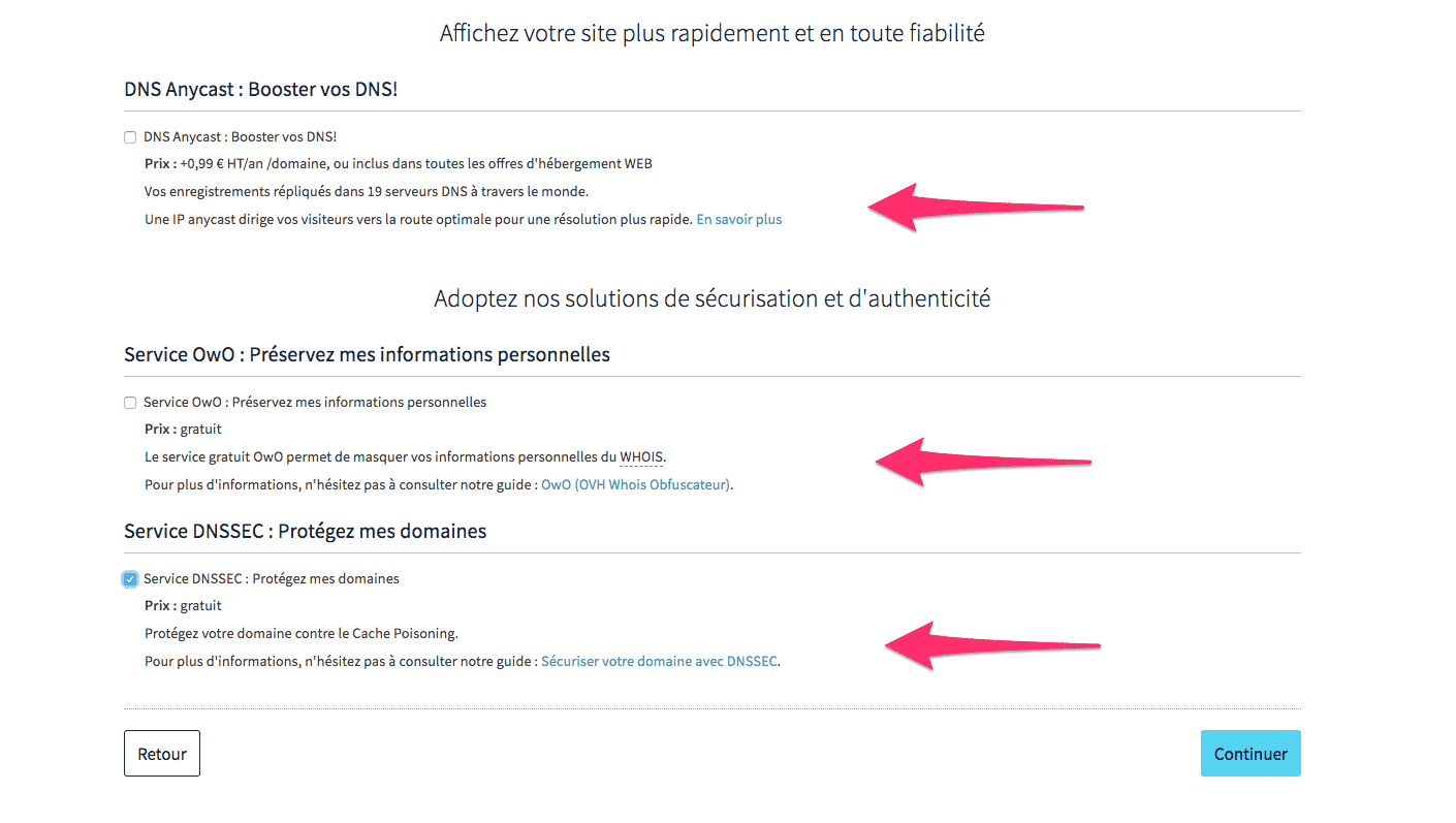 options de sécurité de site ovh