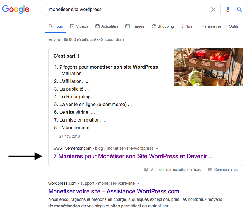 article en position 0 sur Google