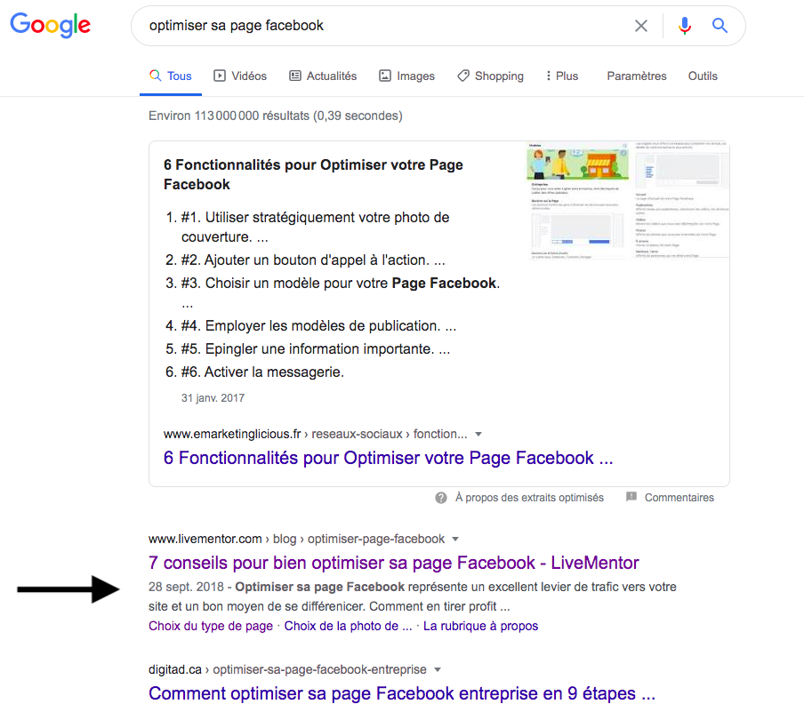 Optimiser sa page Facebook : 2ème position Google