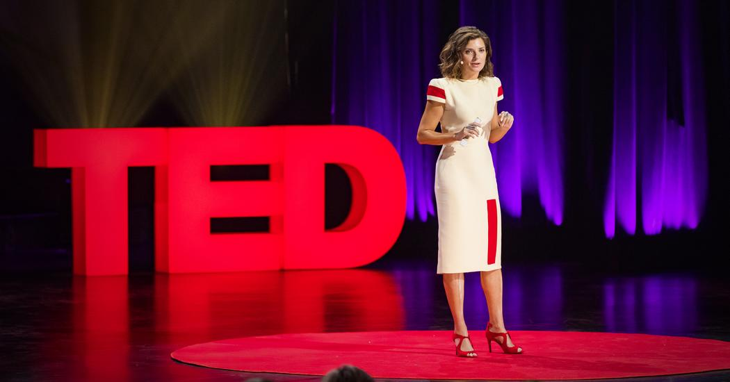 public speaking during a Ted Talk: Lera Boroditsky.