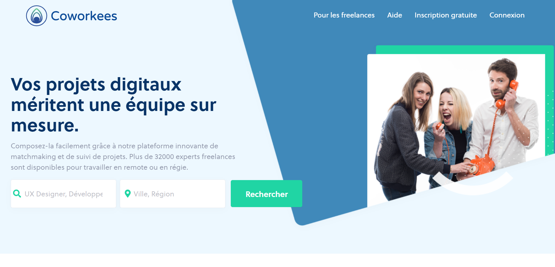 Page d'accueil plateforme freelance Coworkees