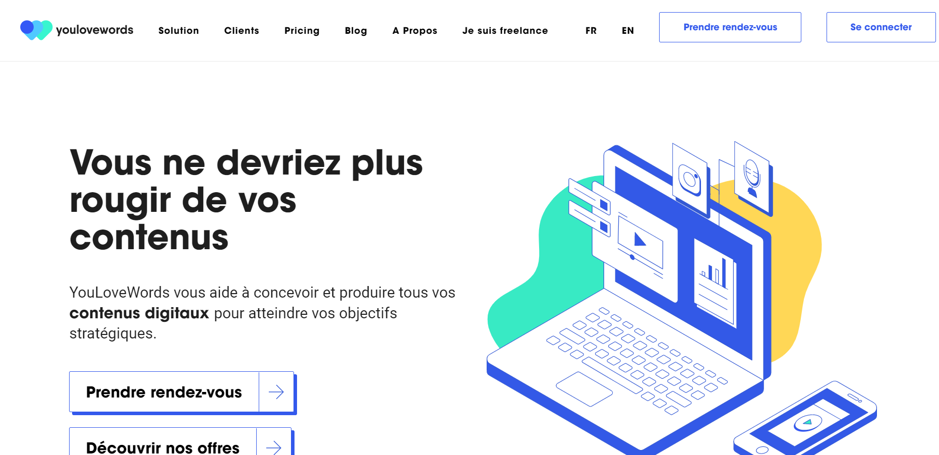 Page d'accueil plateforme Youlovewords