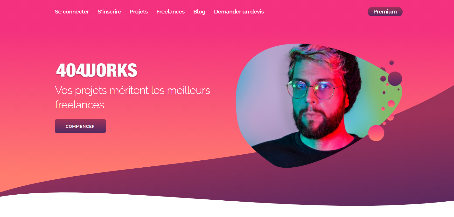 page d'accueil plateforme freelance 404works