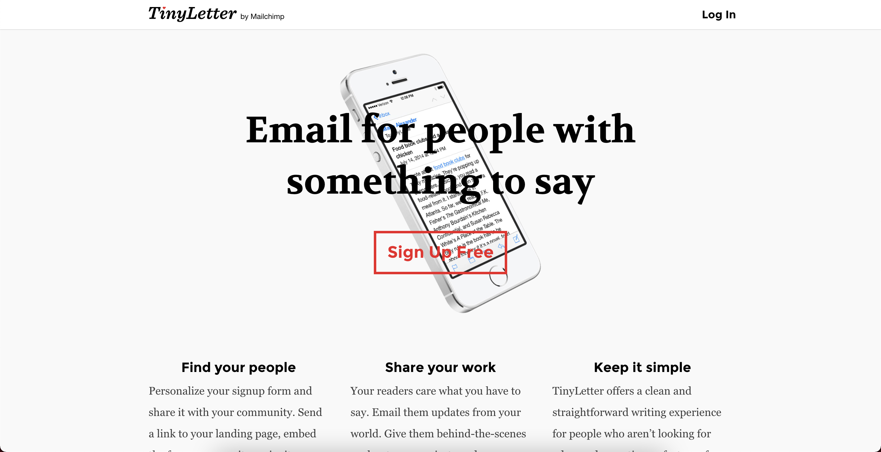 TinyLetter CRM liste emails