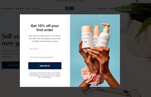 campagne pop up reduction Blume