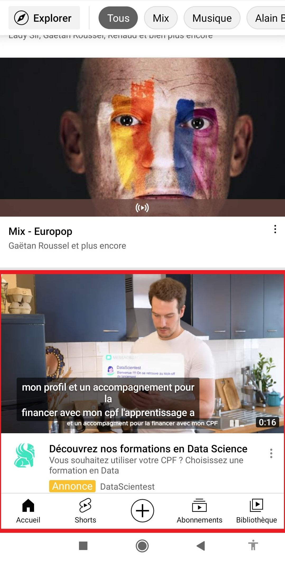 Annonces YouTube outstream